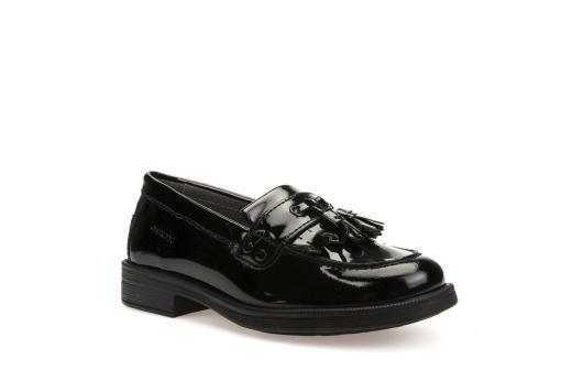 Geox Agata Loafer Fringe Black Patent